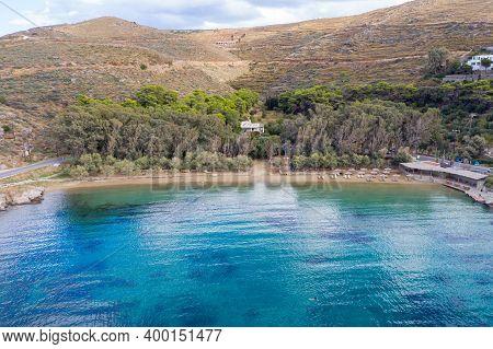 Kea Tzia Island, Cyclades, Greece. Gialiskari Bay And Beach Aerial Drone View