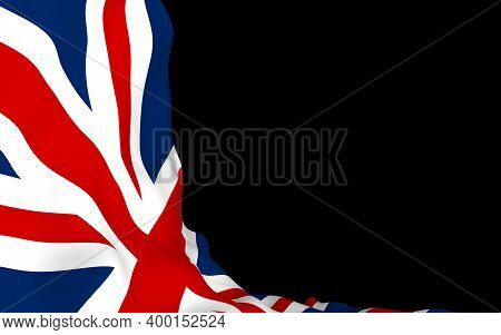 Waving Flag Of The Great Britain On Dark Background. British Flag. United Kingdom Of Great Britain A