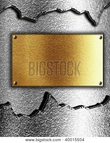 Golden Plaque On Metal Background