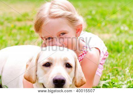 girl and she lablador