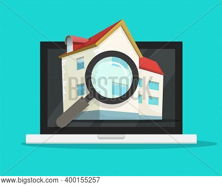 Digital Online Searching Or Reviewing Real Estate House For Buy Or Rent On Computer Vector, Resident