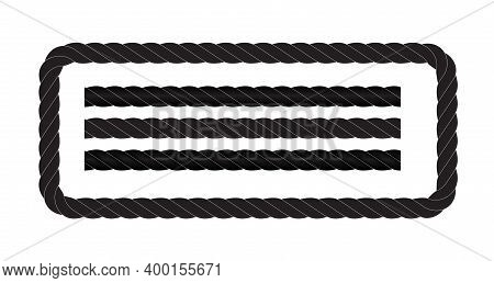 Black And White Rope Isolated On White. Seamless Compilation. Vector Illustration. Eps10