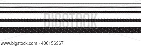 Black And White Rope Isolated On White. Seamless Compilation. Brush. Vector Illustration Eps10