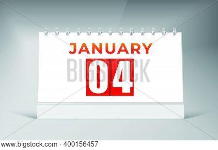 January 04 Desk Calendar Design Template. Single Date Calendar Design.