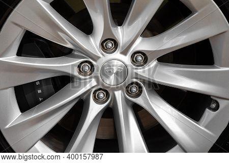 Tesla Electric Car Wheel. Wheel With Tesla Icon: Rivne, Ukraine - July 24, 2020.