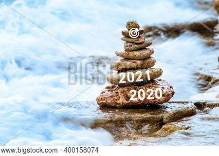 New Year Concept. Countdown And Welcome For 2021, 2021 On Stone Stacking