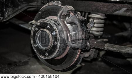 Automobile Disc Brakes On Disassembly, Automobile Cargo Pads.