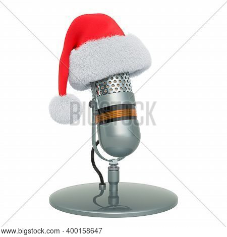 Microphone With Santa Claus Red Christmas Hat. 3d Rendering Isolated On White Background