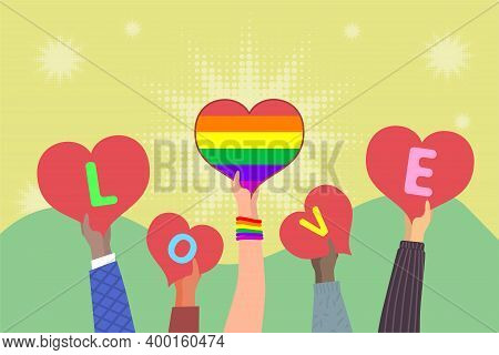 Hands Holding Hearts With Word Love. Lgbt Rainbow Flag Into Heart. Demonstration In Support Of Lgbt