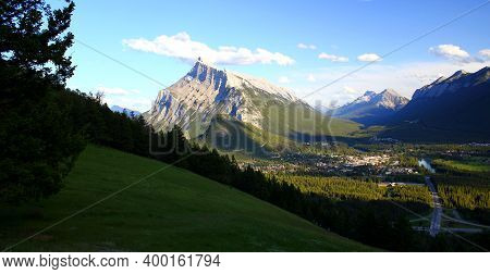 Beautiful And Wonderful Mountain Scenery In The Rockies: Mount Rundle Next To Banff Town In Banff Na