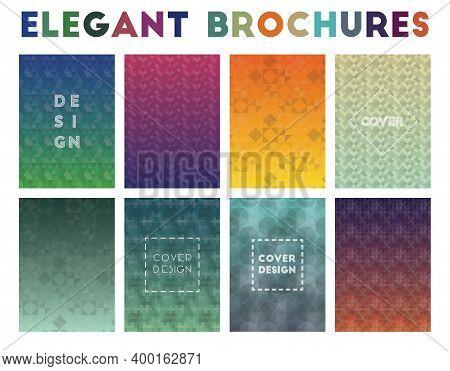 Elegant Brochures. Actual Geometric Patterns, Original Vector Illustration.
