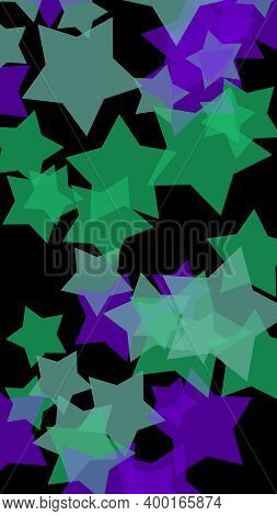 Multicolored Translucent Stars On A Dark Background. Vertical Image Orientation. 3d Illustration