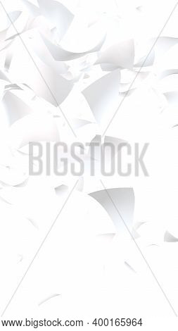 Flying Sheets Of Paper Isolated On White Background. Abstract Money Is Flying In The Air. Vertical O