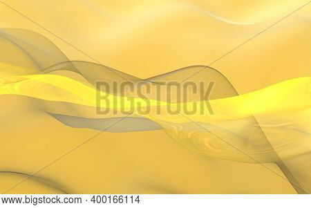 Abstract Gold Background. Beautiful Backdrop With Yellow Waves. 3d Illustration.