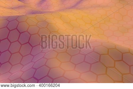 Colorful Honeycomb With A Gradient Color On A Light Background. Perspective View On Polygon Look Lik