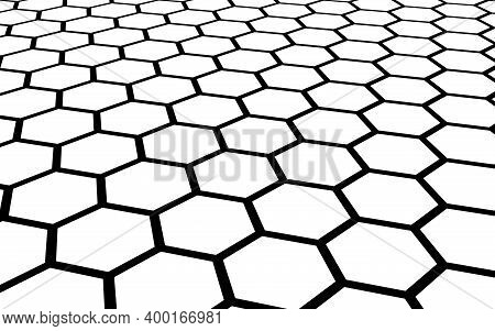 Black Honeycomb On A White Background. Perspective View On Polygon Look Like Honeycomb. Isometric Ge