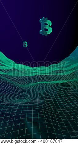 Digital Currency Symbol Bitcoin On Abstract Dark Background. Drop Of The Crypto Currency Market. Bus