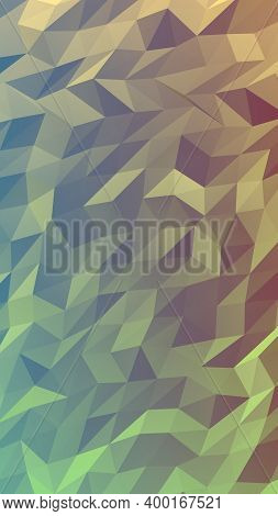Abstract Triangle Geometrical Green Orange Background. Geometric Origami Style With Gradient. 3d Ill
