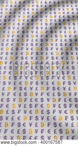 Bitcoin And Currency On A White Background. Digital Crypto Currency Symbol. Wave Effect, Currency Ma