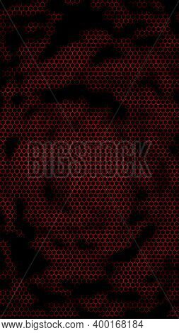 Honeycomb On A Red Background. Perspective View On Polygon Look Like Honeycomb. Isometric Geometry.