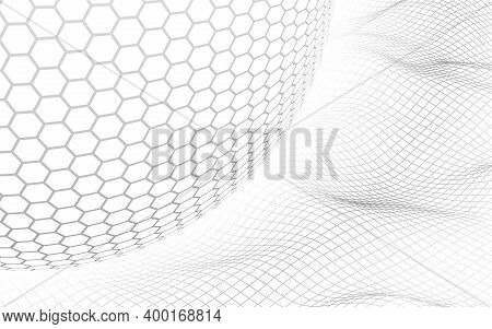Abstract Landscape On A White Background With White Honeycomb Sphere. Cyberspace Grid. Hi Tech Netwo