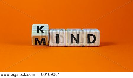 Have A Kind Mind. Turned Cubes And Changed The Word 'kind' To 'mind' On A Beautiful Orange Backgroun