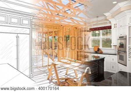 Kitchen Blueprint Drawing Gradating Into House Construction Framing Then Into Finished Build.