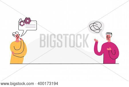 Vector Illustration Concept Discussion, Problem Solving, Brainstorming. Two People Are Depicted, One