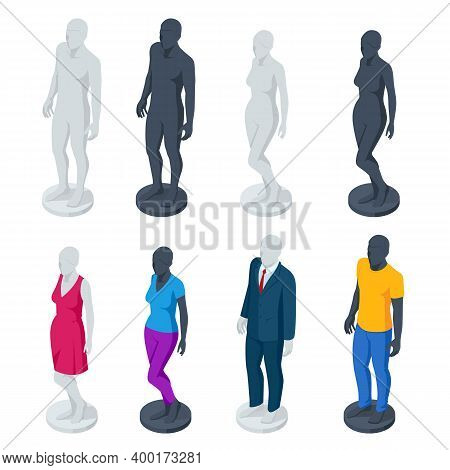 Isometric Adjustable Male And Female Mannequin Full Body. Set Of Realistic Human Mannequins Isolated