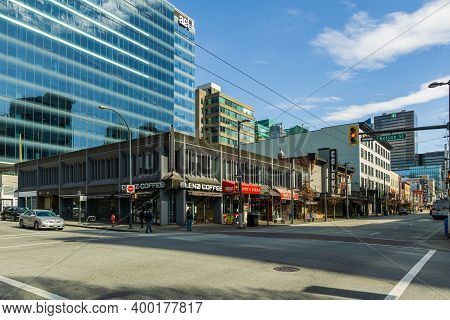 Vancouver, Canada - April 14, 2020: Street View With Commercial Buildings Coffee Shops And Stores In