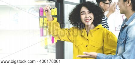 Banner Of Asian Creative Woman Smiling And Meeting At Office Use Post It Notes To Share Idea And Pla