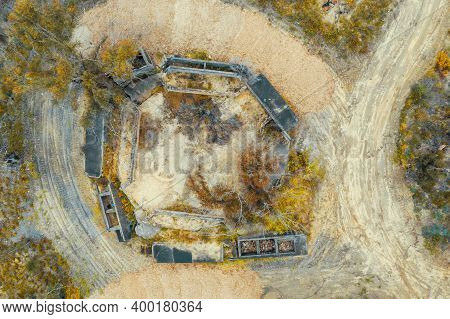 Aerial Photograph Of Structural Ruins And Forest Regeneration After Bushfires Near Clarence In The C