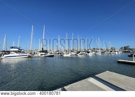 Scarborough, Australia - December 20, 2020: View Many Types Of Boats Moored In The Scarborough Marin