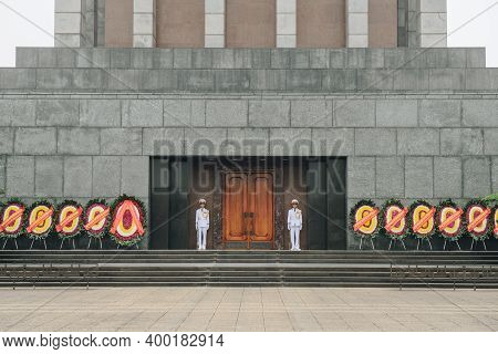 Hanoi, Vietnam : March-26-2019 : In Front Of Ho Chi Minh Mausoleum With Military Honour Guard, Locat