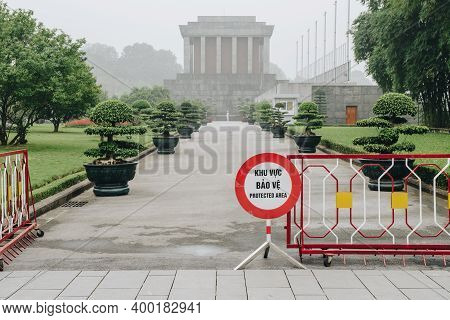 Hanoi, Vietnam : March-26-2019 : The Prohibited Area In Ho Chi Minh Mausoleum, Located At Ba Dinh Sq