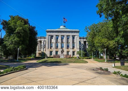 Raleigh, North Carolina - September 04, 20202 : North Carolina state capital building is one of the Nation's most intact examples of a Greek Revival public building.