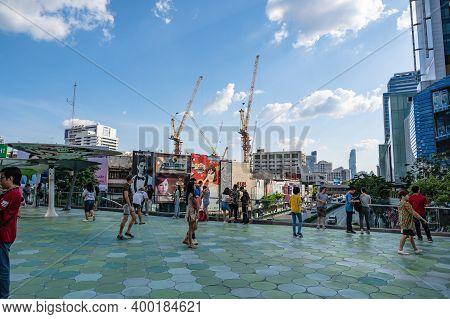 Bangkok/thailand- 31 Dec 2019:unacquainted Tourist Walking On  Skywalk At Bangkok City Thailand.bang