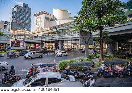 Bangkok/thailand- 31 Dec 2019:traffic On The Road Under The Bts Skytrain In Bangkok City Thailand.ba