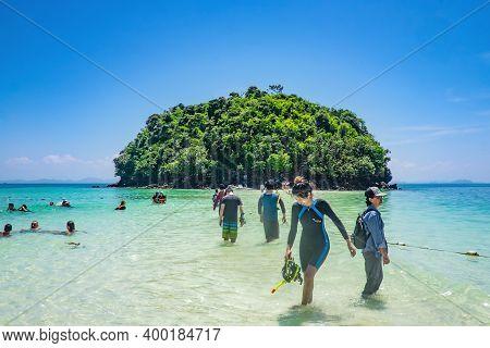 Krabi/thailand- 23 Jun 2017:beautiful Idyllic Seascape And White Sand On Thale Waek Or Separated Sea