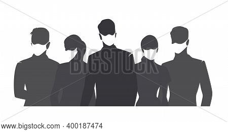 People Wearing Medical Masks, Set Of Isolated Vector Silhouettes. Group Of Men And Women With Respir