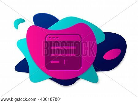 Color Browser Window Icon Isolated On White Background. Abstract Banner With Liquid Shapes. Vector