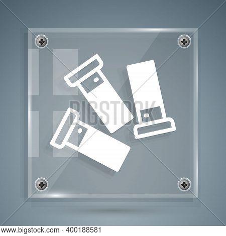 White Cartridges Icon Isolated On Grey Background. Shotgun Hunting Firearms Cartridge. Hunt Rifle Bu