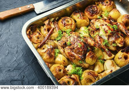 Roasted Chicken With Apples