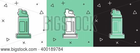 Set Pepper Spray Icon Isolated On White And Green, Black Background. Oc Gas. Capsicum Self Defense A