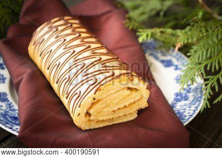 Buche De Noel Is Traditional French Christmas Cake, Golden Yule Log Cake