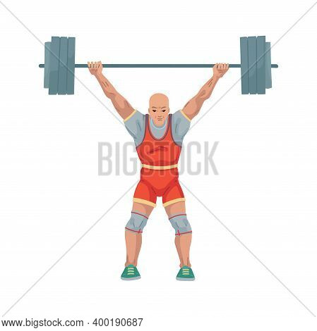 Man Athlete Lifts A Heavy Barbell, Weightlifting Illustration. Sport, Character Isolated On White Ba
