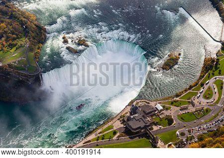 Niagara Falls Aerial View.  An Aerial View Of The Horseshoe Falls, A Part Of The Niagara Falls.  The