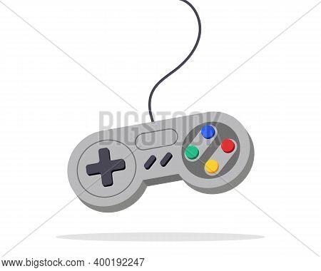 Video Game Joystick Design. Vector Toy Device Keypad. Videogame Computer Fun Controller. Kid Pc Game