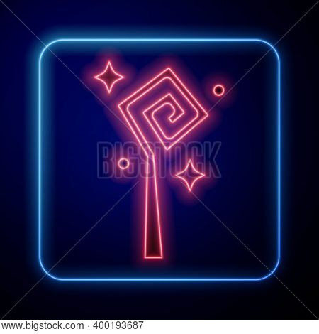 Glowing Neon Magic Staff Icon Isolated On Blue Background. Magic Wand, Scepter, Stick, Rod. Vector