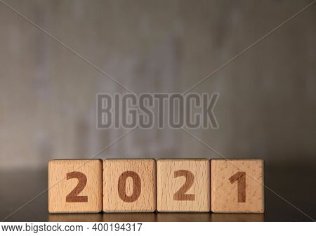 New Year 2021. Year Of The Bull To Eastern Calendar.  Square Wooden Numbers 2021. The Year Of Succes